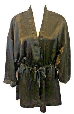 Vintage Victoria's Secret Black Kimono Robe Dressing Gown Gold Label P/Small