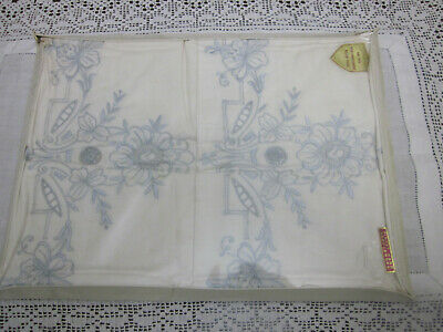 Unopened Vintage Pair Of Embroidered Pillowcases