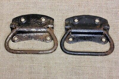 "2 old Tool Box drop Handles drawer 4 7/8"" Pulls vintage rusty Stanley USA!"