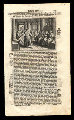 1743 Leaf Lot (10) History of Germanic People Woodcut  Charondas Commits Suicide