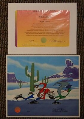 "S/O ""Iced Tease"" Ltd Ed Cel SIGNED Chuck Jones The Roadrunner Wile E. Coyote"