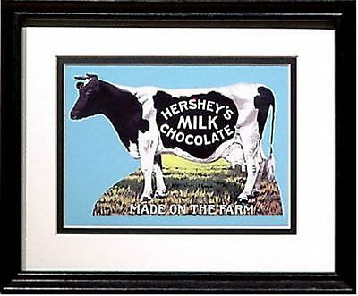 Hershey's Milk Chocolate Cow Made on the Farm Advertising Ad Art Print Framed