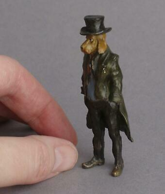 Vintage COLD PAINTED BRONZE Casual GENTLEMAN DOG Hound MINIATURE Anthropomorphic