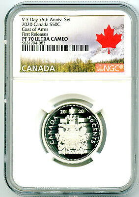 2020 Canada 50 Cent .9999 Silver Proof Half Dollar Ngc Pf70 Ucam First Releases