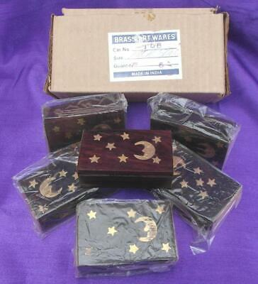 Job Lot of 6 BRASS MOON & STARS DESIGN WOODEN BOXES Pills Stash Gift CLEARANCE