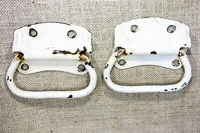 "2 old Tool Box drop Handles drawer Pulls barn find rustic paint 5"" vintage"