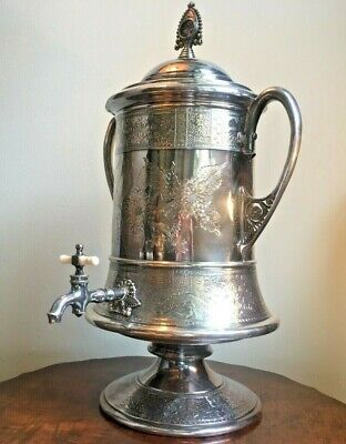 1868 Meriden B. Co. Quadruple Silver Plate Server Samovar Porcelain Lined