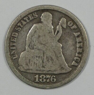 1876-CC Liberty Seated Dime GOOD+ Carson City Silver 10-Cents