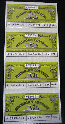 4 Vintage 50 cent Michigan Lottery Tickets 1976 Series A  817116