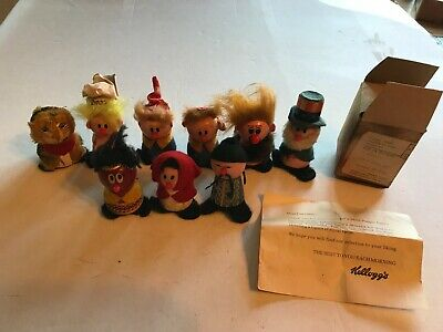 9 Vintage 1972 Kellogg's Wood Figurines Snap Crackle Pop Tony Ogg Mail Away