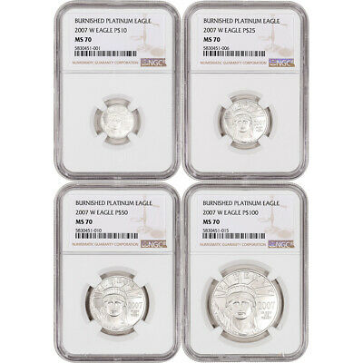 2007-W American Platinum Eagle Burnished Four Coin Set - NGC MS70