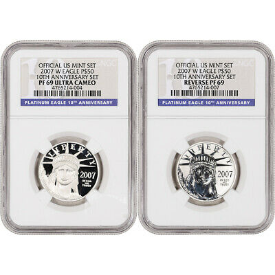 2007-W American Platinum Eagle Two Coin Proof Set - NGC PF69