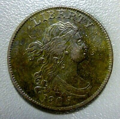1805 Draped Bust Half Cent Large 5 With Stems Great Example