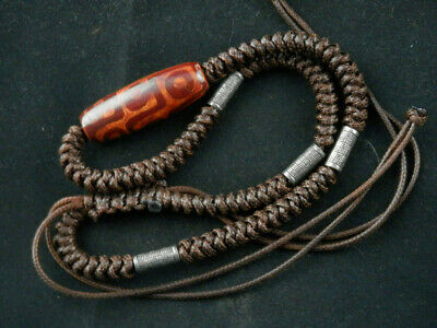 Good Quality Tibetan Prayer Necklace W/Old Agate Dzi *9Eyed* Bead Q019