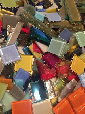 Huge Assorted Lot of Mixed Glass Mosaic Craft Tiles!  3.5 Lbs.