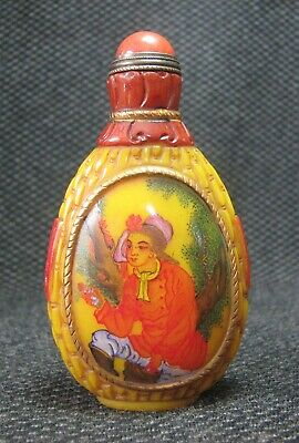 Chinese Traditional Hand Painted Woman Design Glass Snuff Bottle**//++