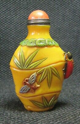 Chinese Traditional Glass Carve Bamboo Butterfly Snuff Bottle==--