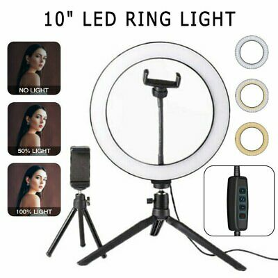 """10"""" LED Ring Light Lamp Dimmable Selfie Camera Phone Studio Tripod Stand Video"""