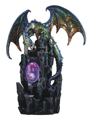 Green and Purple Dragon on Castle with LED Light up Wizard Fantasy Figurine New