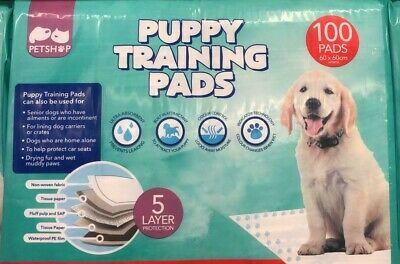 Petshop Dog and Puppy Training Pads, Pack of 100 Pads 60 x 60CM Aprox Brand New