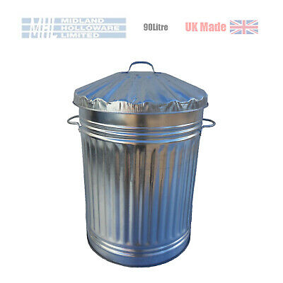 90 Litre (18in) Galvanised Dustbin Tapered Heavy Duty UK Made! (storage)