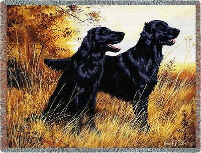 Throw Tapestry Afghan - Flat-Coated Retriever Pair by Robert May 1439