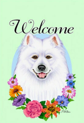 Welcome Flowers House Flag - Samoyed 63077