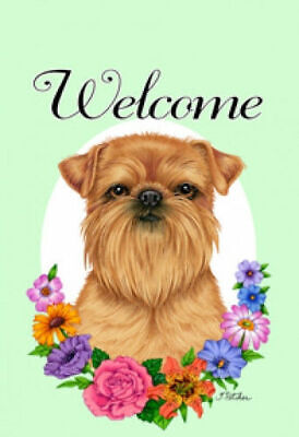 Welcome Flowers House Flag - Brussels Griffon 63128