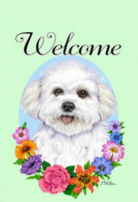 Welcome Flowers House Flag - Bichon Frise Pup 63137