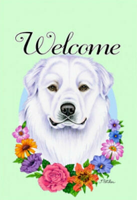 Welcome Flowers House Flag - Great Pyrenees 63146
