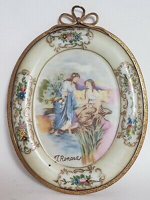 """Small Vintage Hand Painted Porcelain Plaque Signed Gilt Frame Ladies ~ 6.5"""" Tall"""