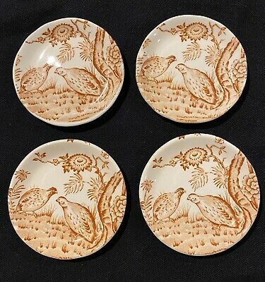 Set Of 4 Antique Furnivals Quail Brown Butter Pat China Plate 684771