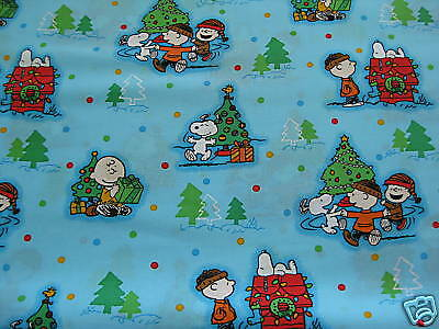 Peanuts Snoopy Charlie Brown Christmas Fabric Fat Quarter 18 Inches x 21 Inches