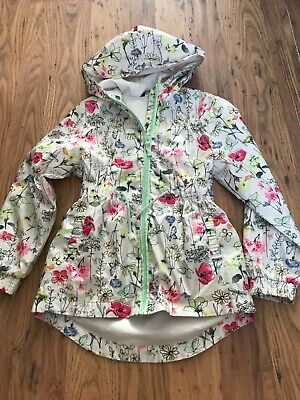 GIRLS FLORAL DESIGN SUMMER JACKET WITH HOOD age 8 - 9 years IN VGC