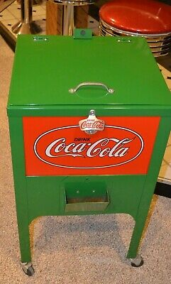 Drink Coca Cola Coke Metal Cooler Green Red Sign W Bottle Opener and Cap Holder