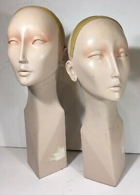 Two 1970  Beautiful Art Deco Style Mannequin Display Store Design Heads
