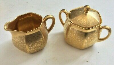 1920'S  Pickard Rs Prussia Germany. Gold Encrusted Creamer & Sugar Daisy & Rose