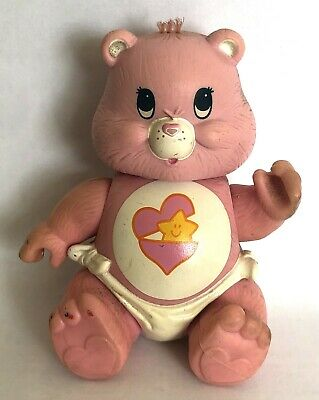 Vintage Care Bears 'Baby Tugs Bear' 1984 pink poseable figure 1980's retro toys