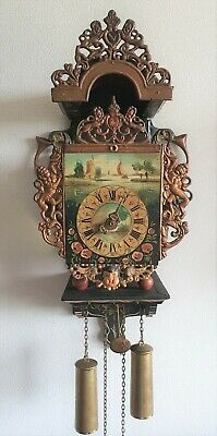 Stoelklok Chair Clock Dutch Folk Art Painted 8 Day Chain Driven Hermle Vintage