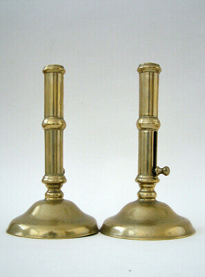 Pair Early 18Th C. English Antique Brass  Side Slide  Ejector Candlesticks .