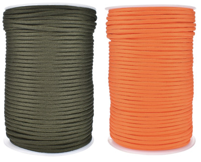 Paracord 550 4mm Green Orange 9 Strand Mil Spec Cord Rope Survival Bushcraft