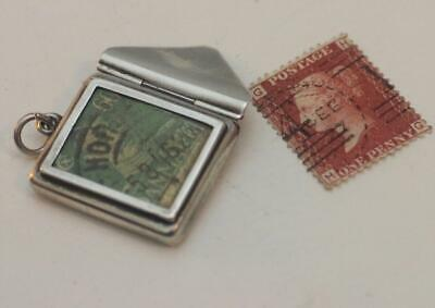 Sterling silver envelope stamp case holder with picture frame chatelaine Reg no.