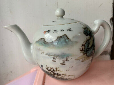 Chinese Export Famille Rose Porcelain Teapot  Painted  Landscape Age Unknown