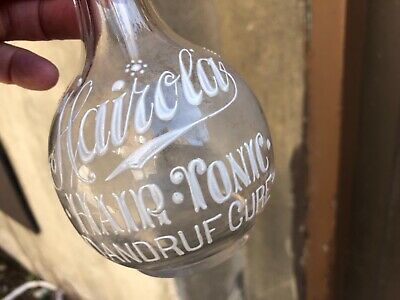 "VINTAGE RARE c.1930 ENAMELLED ""HAIROLA DANDRUFF CURE"" BARBERSHOP BACKBAR BOTTLE"