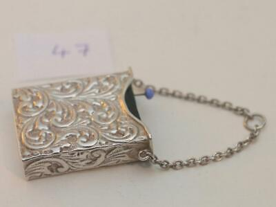 RARE Sterling silver figural pin cushion in shape of book  + Stamp holder 1901