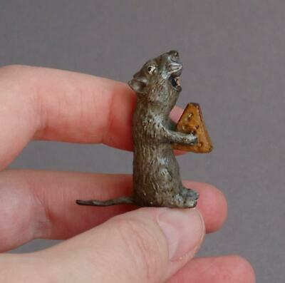Vintage/Antique COLD PAINTED BRONZE Miniature Rat MOUSE with CHEESE Comical
