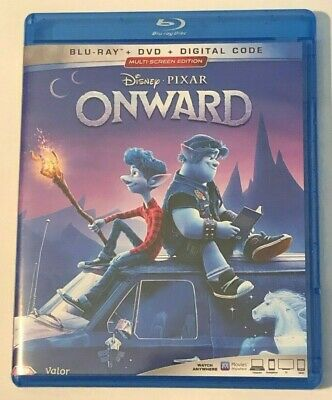 Onward Disney Pixar 2020 Film, Used Blu-Ray & Bonus Disc, New Dvd & Digital Code