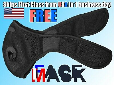 Black Face Mask with Reusable Carbon Filter Exhaust Valves and Neck Strap