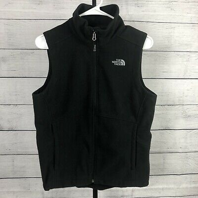 The North Face Womens Sz M Vest Black Fleece Full Zip Sleeveless Zipper Pockets