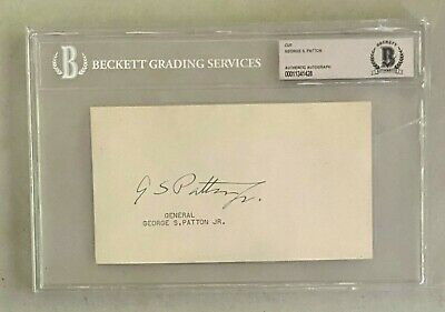 General George S. Patton Signed 4x6 Cut Autographed Beckett BAS AUTO